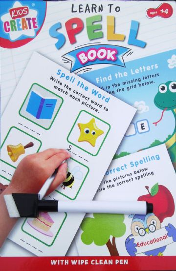LEARN TO Educational Wipe Clean Book Spelling Worksheets with Pen
